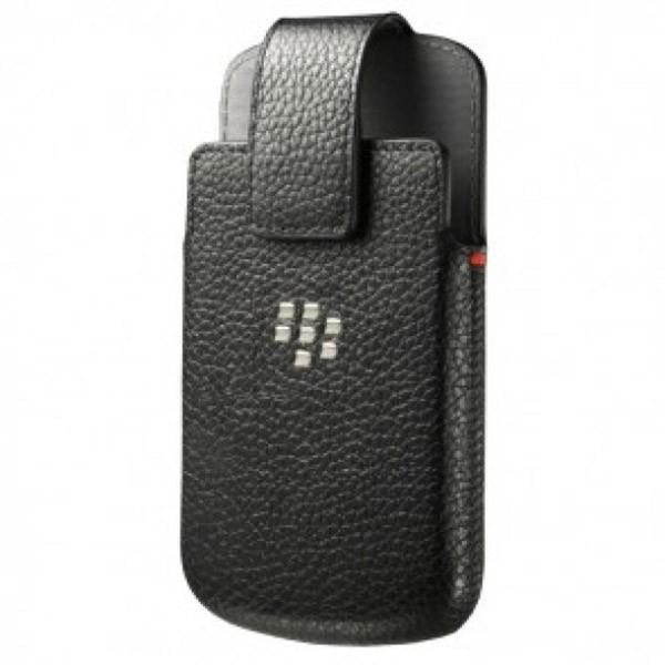 Carcasa cu capac piele neagra Blackberry Q10