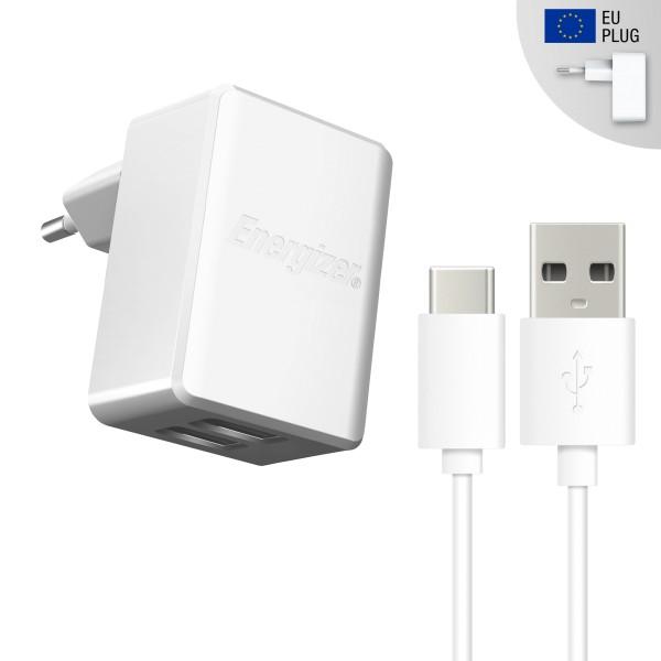 Incarcator retea, 2.4A, 2USB, cablu microUSB Type C inclus, lungime 1 metru, Alb