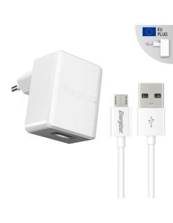 Energizer Incarcator retea QC 2.0, 2.4A, 1USB,Cablu MicroUSB inclus, lungime 1 metru, Alb