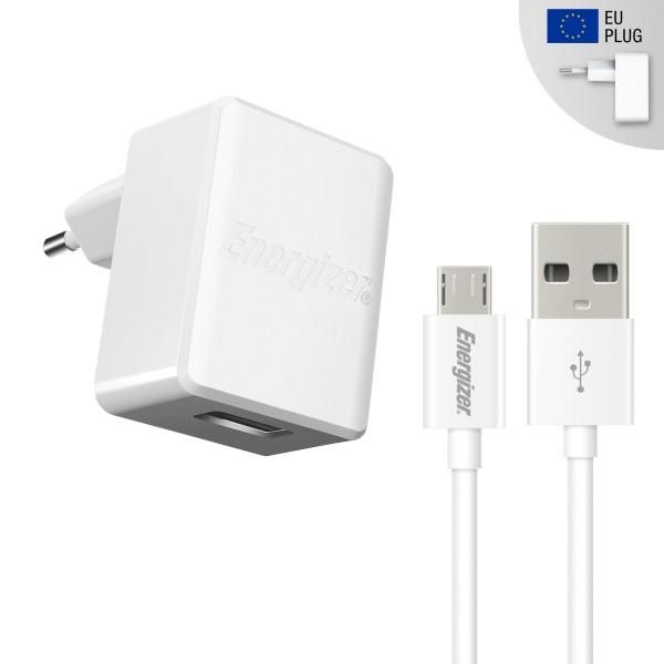 Incarcator reteaQC 2.0, 2.4A, 1USB, cablu microUSB inclus, lungime 1 metru, Alb