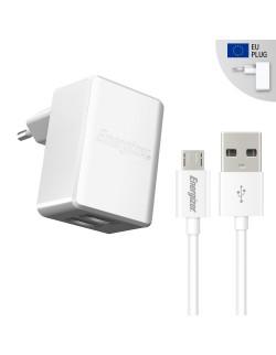 Energizer Incarcator retea, 2.4A, 2USB,Cablu MicroUSB inclus, lungime 1 metru, Alb