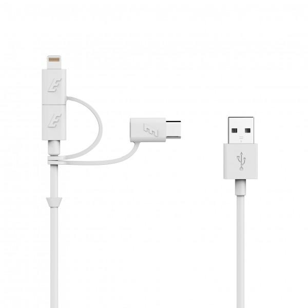Cablu 3in1 1m, MicroUSB, Lightning, Type C, Alb