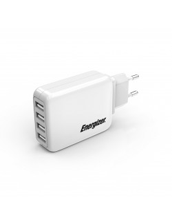 Energizer Statie de Incarcare, 21W, 4USB, 4.2A, Alb,Cablu alimentare detasabil
