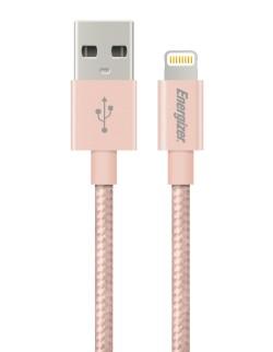 Cablu Energizer Lightning Metallic/Textil, 1.2m, Rose