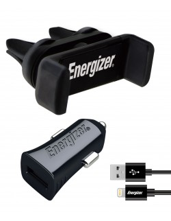 Energizer Kit Auto, Suport Ventilatie 4-6 inch + Incarcator auto, Lightning, 2.4A, 1USB, Negru