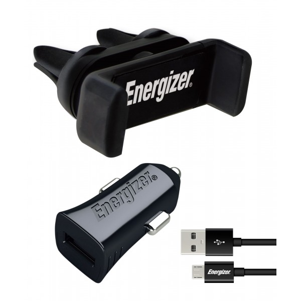 Energizer Kit Auto, Suport Ventilatie 4-6 inch + Incarcator auto, MicroUSB, 1A, 1USB, Negru
