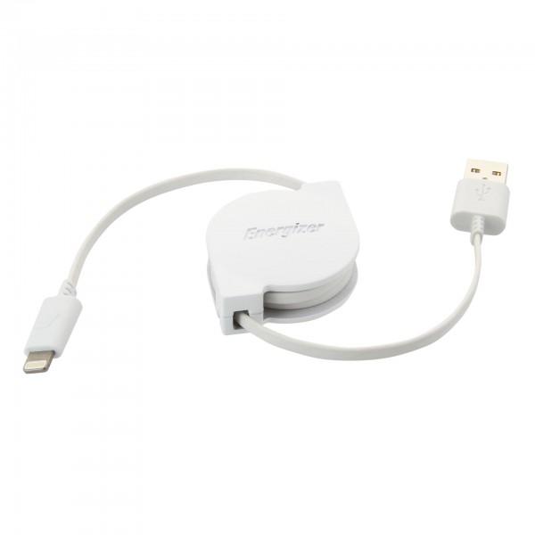 Energizer Cablu Lightning Retractabil, 80cm, Alb
