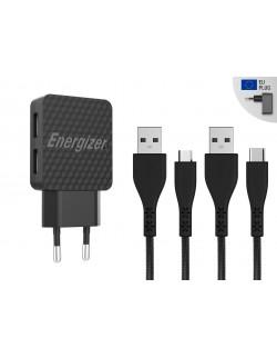 Incarcator retea Lifetime Warranty , 2.4A, 2USB, cablu microUSB+Type C incluse, lungime 1 metru, Negru