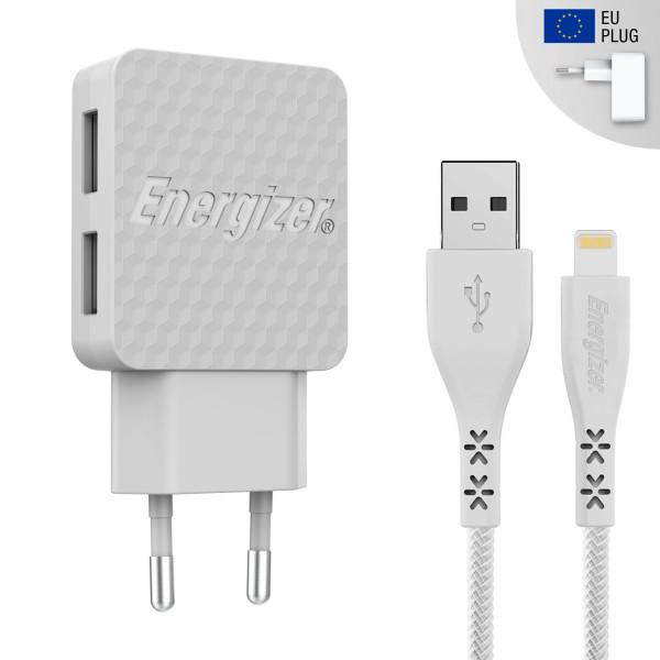 Incarcator retea Lifetime Warranty , 3.4A, 2USB, cablu lightning inclus, lungime 1 metru, alb